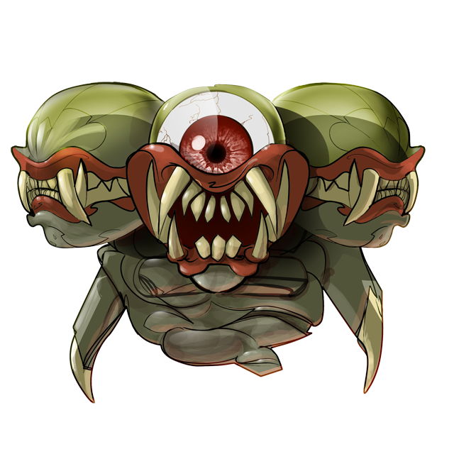 three heads. one eye. lots of teeth.