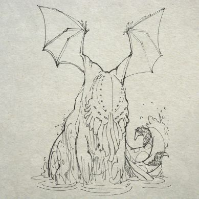 the pursuing jelly which rose above the unclean froth like the stern of a daemon galleon
