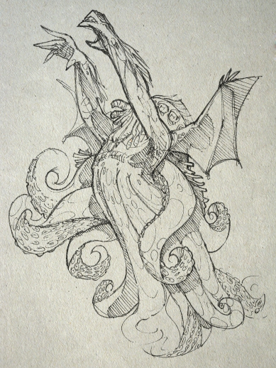 """Cthulhu 62   The youth's febrile mind, apparently, was dwelling on strange things; and the doctor shuddered now and then as he spoke of them. They included not only a repetition of what he had formerly dreamed, but touched wildly on a gigantic thing """"miles high"""" which walked or lumbered about."""
