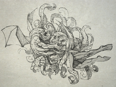 The awful squid-head with writhing feelers came nearly up to the bowsprit of the sturdy yacht, but johansen drove on relentlessly. There was a bursting as of an exploding bladder, a slushy nastiness as of a cloven sunfish, a stench as of a thousand opened graves, and a sound that the chronicler could not put on paper.