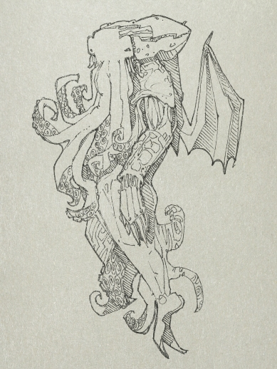 """…recovered by police from a raid on a murderous cult, """"represented a monster of vaguely anthropoid outline, but with an octopus-like head whose face was a mass of feelers, a scaly, rubbery-looking body, prodigious claws on hind and fore feet, and long, narrow wings behind."""