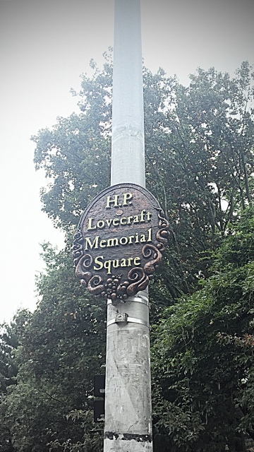 , this plaque is just north of the entrance to the John Hay Library, where most of Lovecraft's original manuscripts are kept.