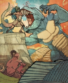 QUETZALCÓATL AND TEZCATLIPOC In one of the Aztec accounts of creation, Quetzalcoatl and Tezcatlipoca joined forces to battle the primordial earth-monster Cipactli. Tezcatlipoca used his foot as bait to lure her into battle, and Cipactli ate it. The two gods defeated her and made the land from her body.