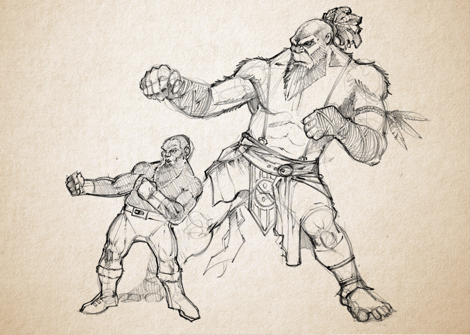 A dwarf gives a bigfoot some fighting tips.