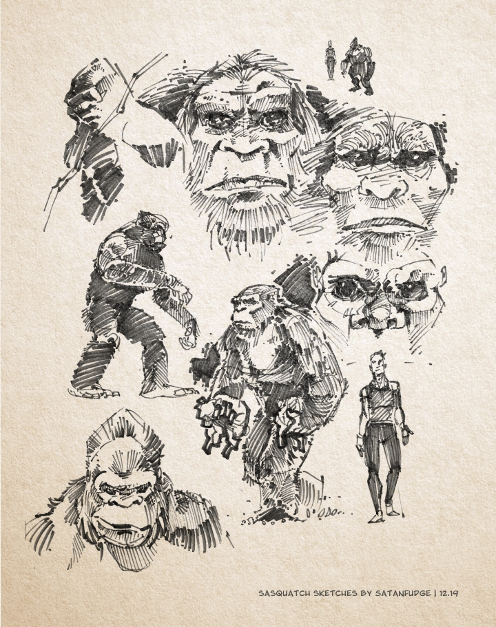 Bigfoot/Sasquatch/Wood Ape sketches. Body face & size comparison.